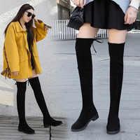 Размер 35-41, зимние сапоги выше колена, женские эластичные тканевые чулки с эластичным бортом, женская обувь, длинные сапоги, Bota Feminina Zapatos De Mujer