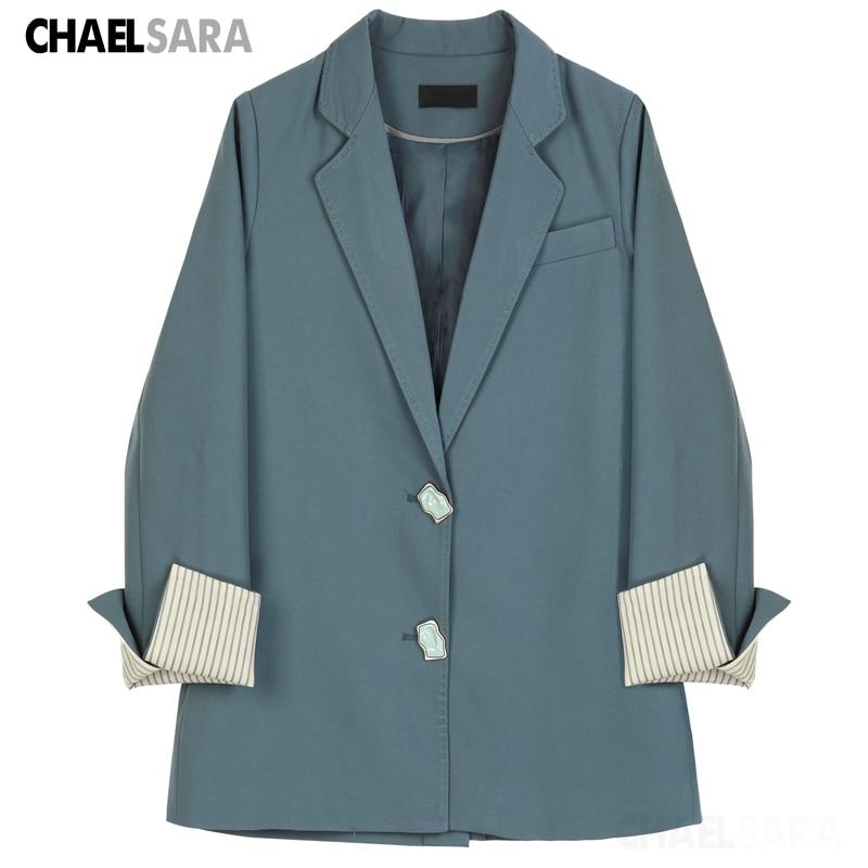 2020 New Korea Striped Sleeve Blazers Jackets Women Chic Long Sleeve Singel Breasted Office Lady Spring Autumn Suit Coat