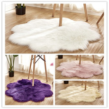 Northern Europe 2020 new artificial fur carpet pink white fluffy living room decoration soft bedroom comfortable floor cushion