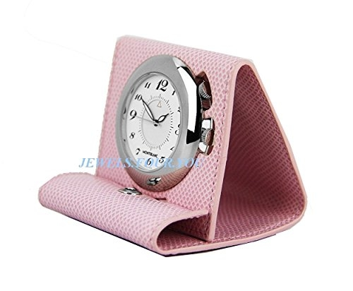 Montblanc Boheme Rosa Orologio Sveglia Da Viaggio In Pelle Swiss 36987New Box