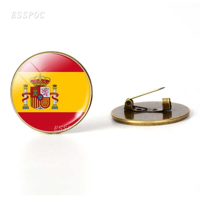 Eropa Selatan: Portugal Yunani Spanyol Italia Rumania Bendera Bros Kaca Cabochon Perhiasan Perunggu Bros Pin Hari Nasional Hadiah