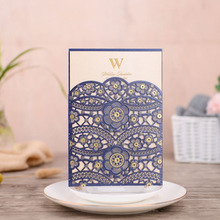 50pcs Blue Laser Cut Wedding Invitations Card Lace Flora Elegant Invites Cards Customize For Marriage Party Decoration