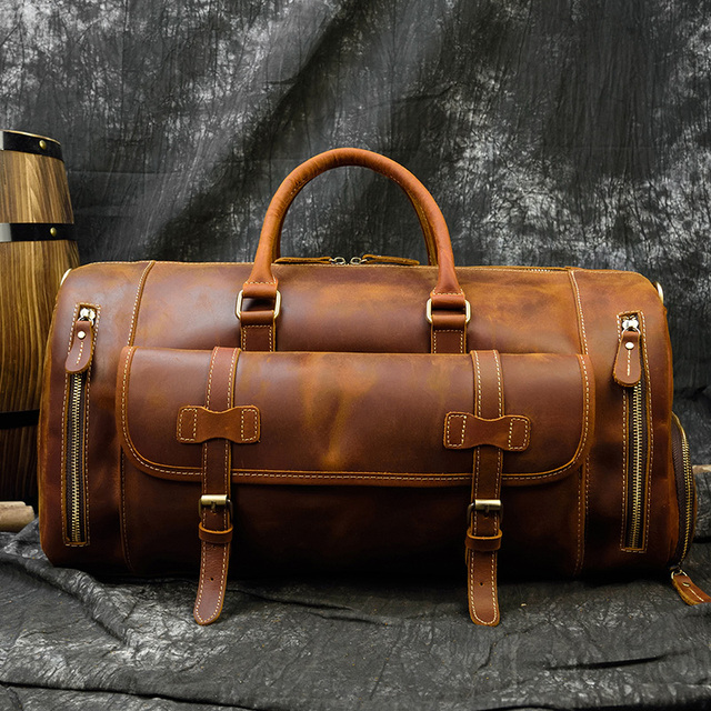 MAHEU Fashion Handbags For Men Genuine Leather Travel Duffles Travelling Shoulder Laptop Bags Real Cow Skin Hand Luggage Bags 1