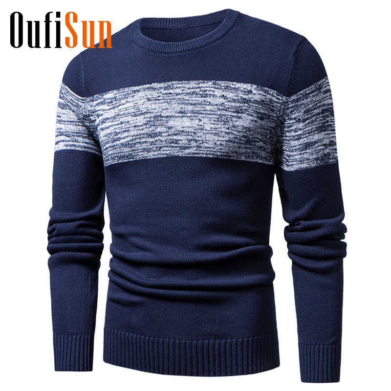 Oufisun Men Autumn Winter New Casual Knitted Cotton Pattern Sweaters Pullover Men Outfit Fashion O-Neck Sweater Coat Men 3XL