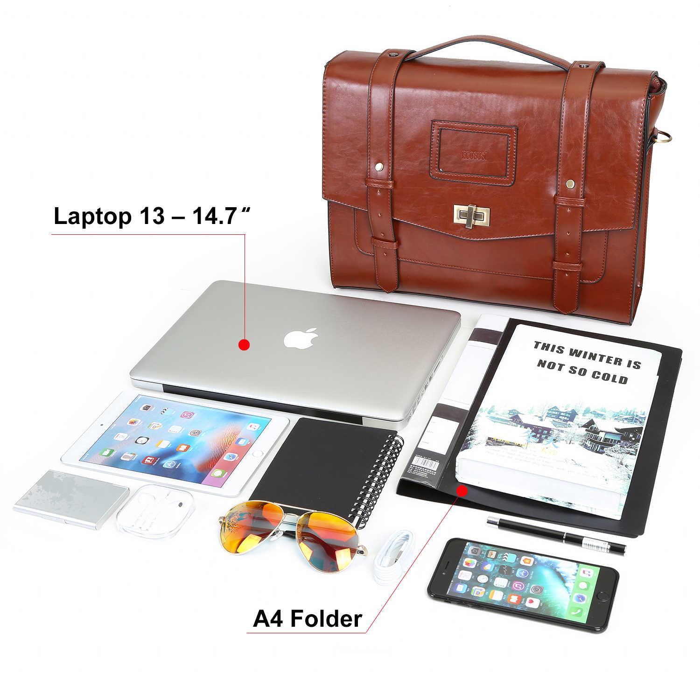 """ECOSUSI New Mulheres Escola Bags 14.7 """"Laptop De Couro PU Mochila de Viagem Maleta Crossbody Saco Fivela Ombro Caso Em UM mala"""