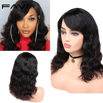 цена на FAVE Brazilian Remy Body Wave Wig100% Human Hair Wig With Bangs 150% Density Natural Black Color For Women Free Shipping & Gifts