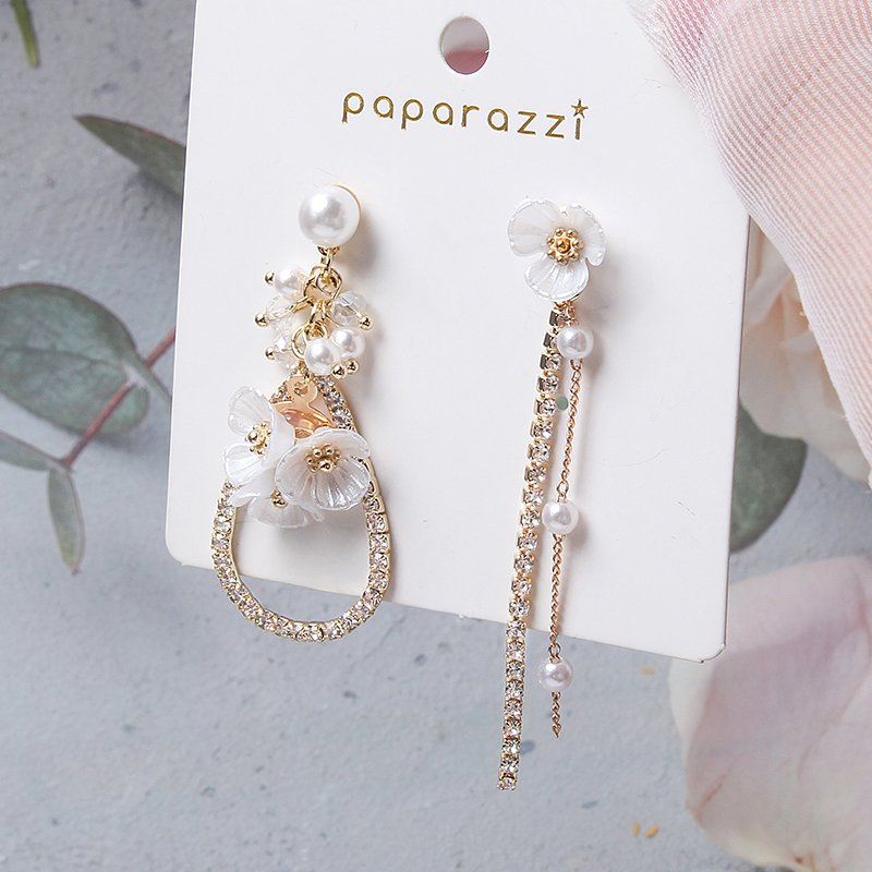 MWSONYA Fashion Korean Sweet Pearl Flower Drop Earrings for Women Fashion Tassel Pendientes Jewelry Earrings for Girl Gift