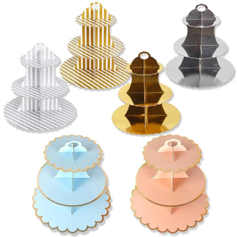 3-Layer Disposable Round Birthday Cupcake Dessert DIY Paper Craft Stand Dessert Display Rack Wedding Party Supplies Cake Tools