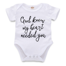 2019 Infant Onesie God Knew My Heart Needed You Letter Print Toddler Bodysuit Sh