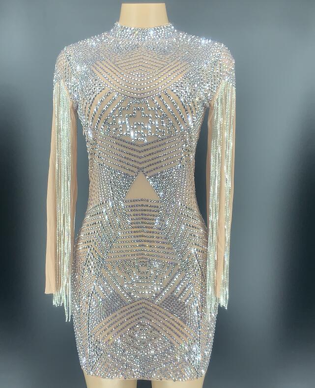 Transparent Silver Rhinestones Dress Mesh See Through One-piece Crystals Fringes Dress Birthday Celebrate Costume YOUDU