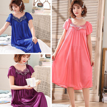 Short Sleeve Loose Summer Nightgown Women Sexy Nightdress Lingerie Ice Silk Ladies Home Clothing