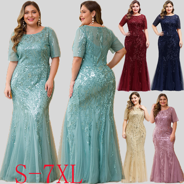 Mermaid Evening Dresses Plus Size Ever Pretty Sequined Short Sleeve O-Neck Sexy Formal Dresses Evening Party Gowns Lange Jurken 2