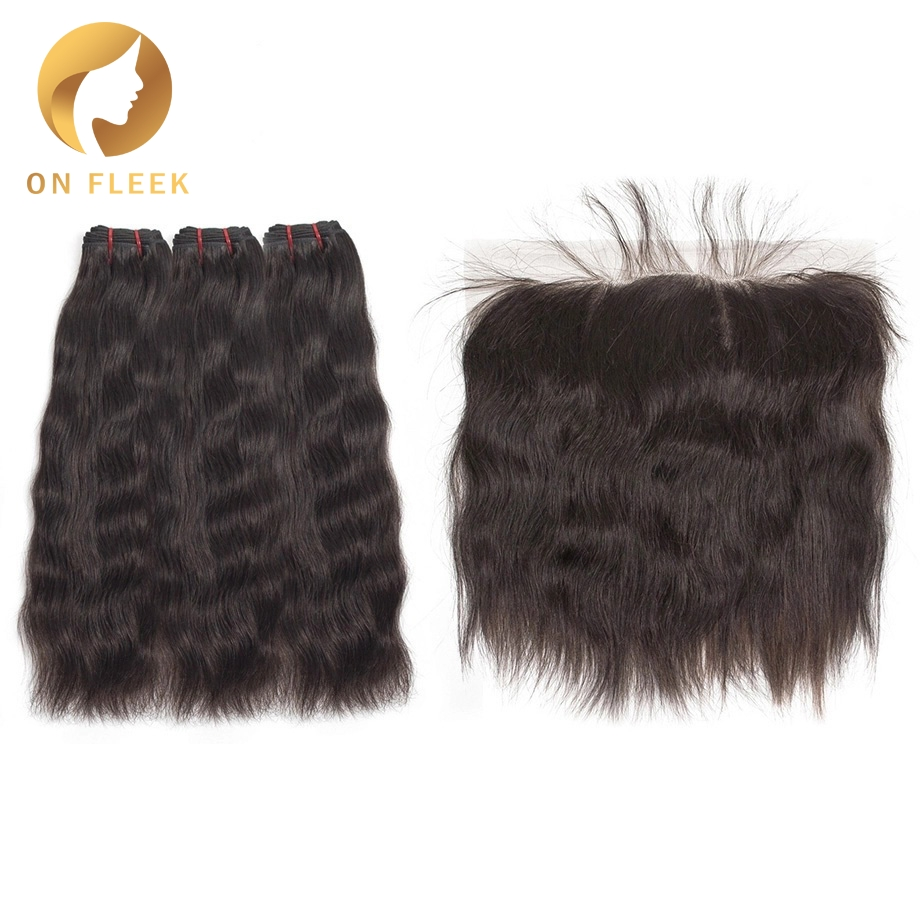 On Fleek Brazilian Virgin Hair Bundles With Frontal Natural Straight Raw Hair Bundles With Frontal Hair Extension Free Shipping