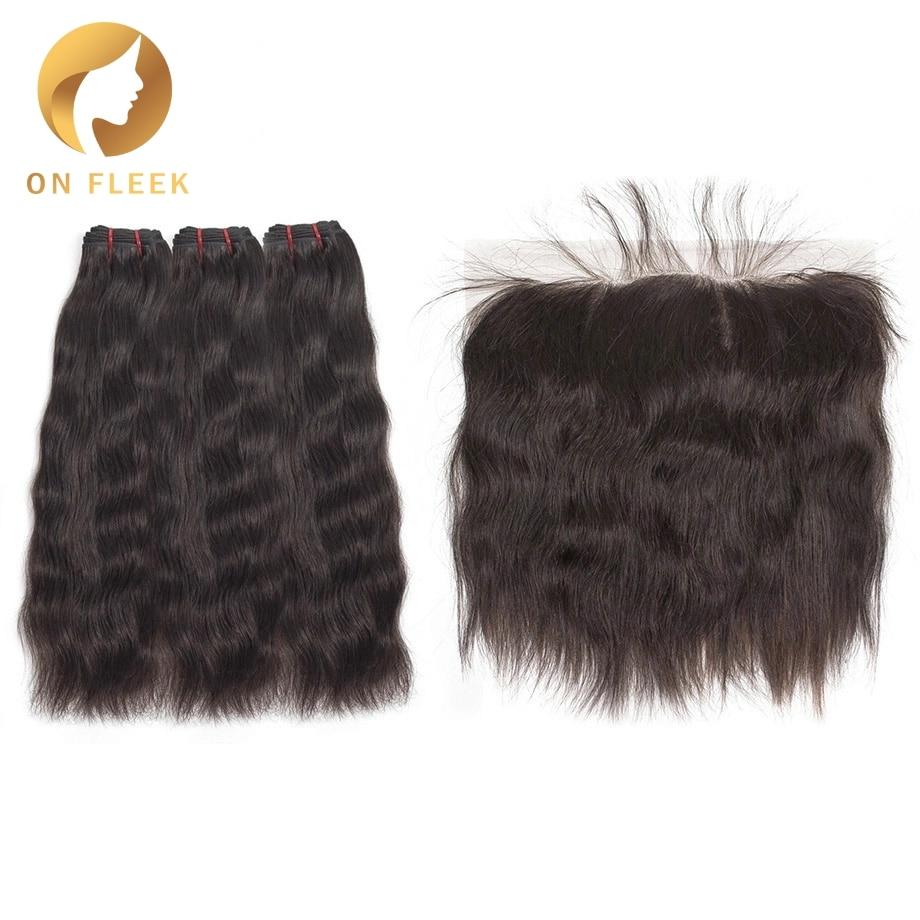 On Fleek Brazilian Virgin Hair Bundles With Frontal Natural Straight Raw Hair Bundles With Frontal Hair Extension Free Shipping