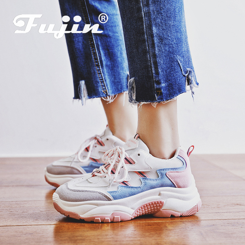 Fujin Spring 2019 New Academy Wind Pink Leisure Shoes Dropshipping Female Ins Round-Headed Student Street Patting Causal Sneaker