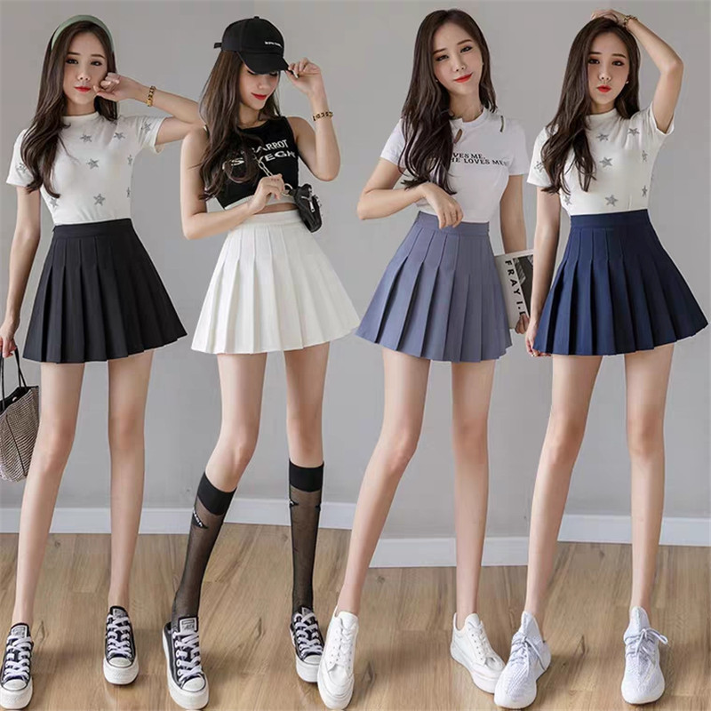 Girls Fashion Short Pleated Solid Korean Slim Fit High Waist Preppy Style Empire Skirts Women Mini A-line Skirt