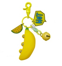 Hot style series stress reliever banana cute little yellow key ring key chain bag pendant couple accessories banana style pp rubber stress reliever keychain yellow