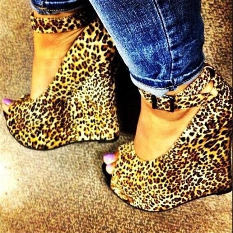 ASHIOFU Handmade Women Wadge Heel Pumps Faux-leopard Party Dress Pumps Peep-toe Sexy Night-club Evening Fashion Court Shoes