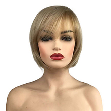 HAIRJOY Women Side Part  Bob  Bangs  Synthetic Hair  Blonde Short Straight Wig adiors side part slightly curled short bob synthetic wig
