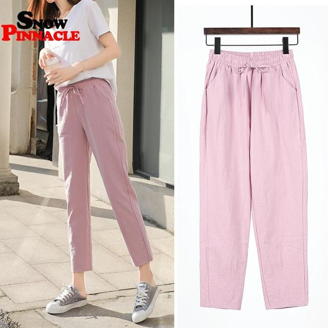 Womens Spring Summer Pants Cotton Linen Solid Elastic waist Harem Trousers Soft thin Female ladys trousers S-XXL 6