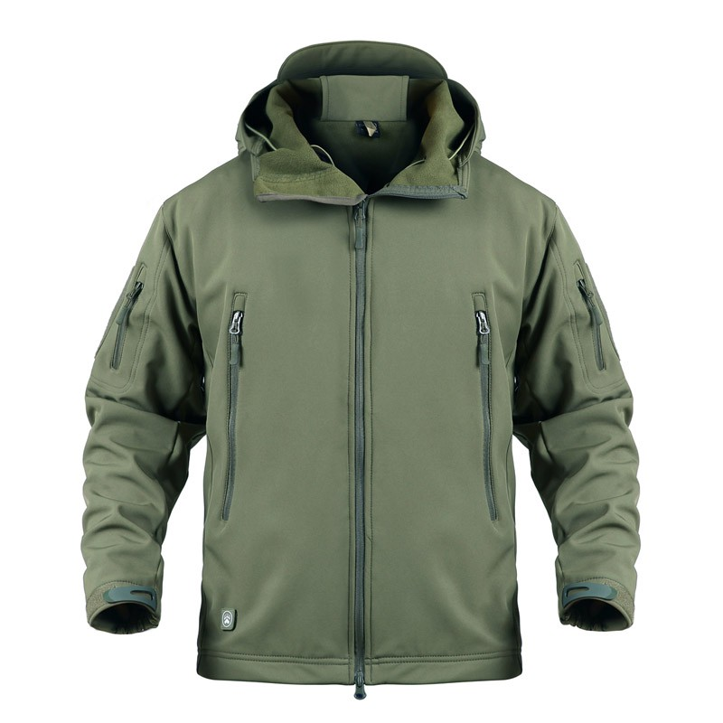 Outdoor Tactical Military Softshell Fleece Jacket Men's Waterproof Hunting And Hiking Jacket Warm Hooded Army Coat