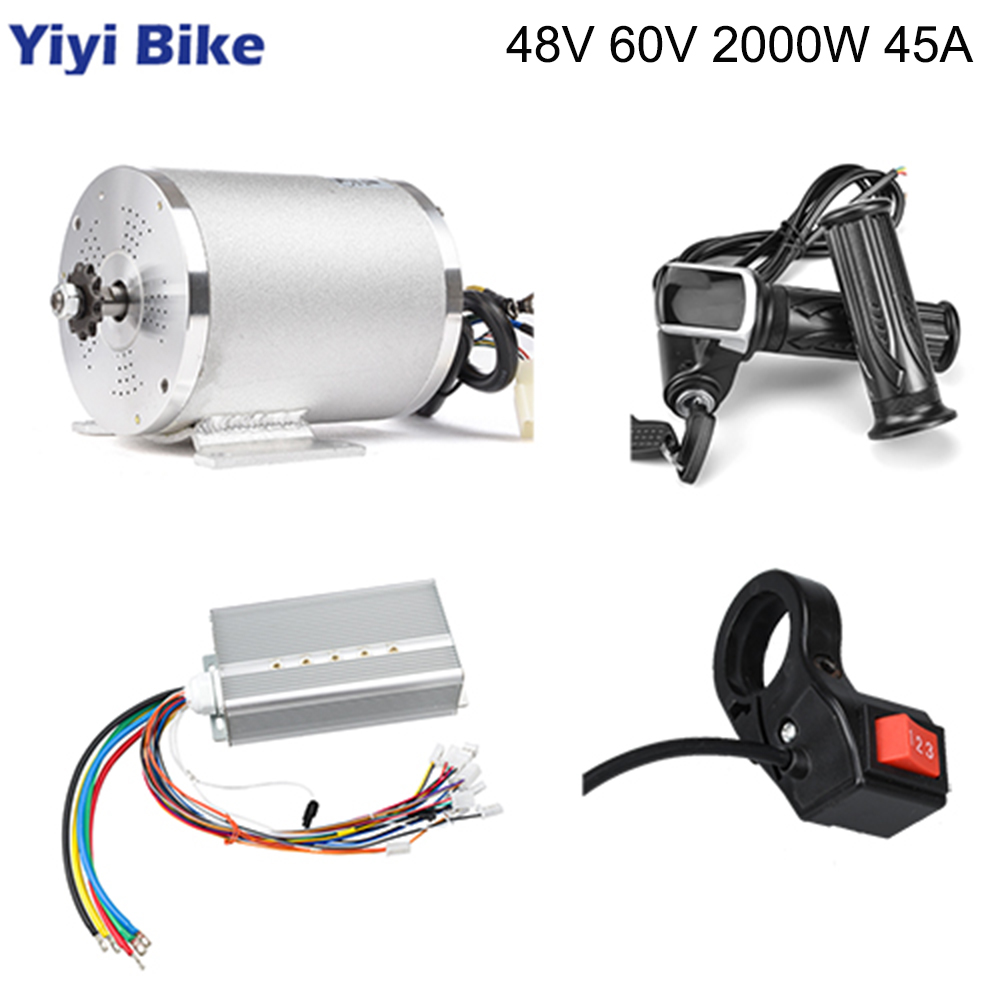 Electric Scooter <font><b>Motor</b></font> 48V <font><b>60V</b></font> <font><b>2000W</b></font> Electric Bicycle Conversion Kit BLDC Controller 45A LCD Throttle Grip 3-speed Go Kart ATV image