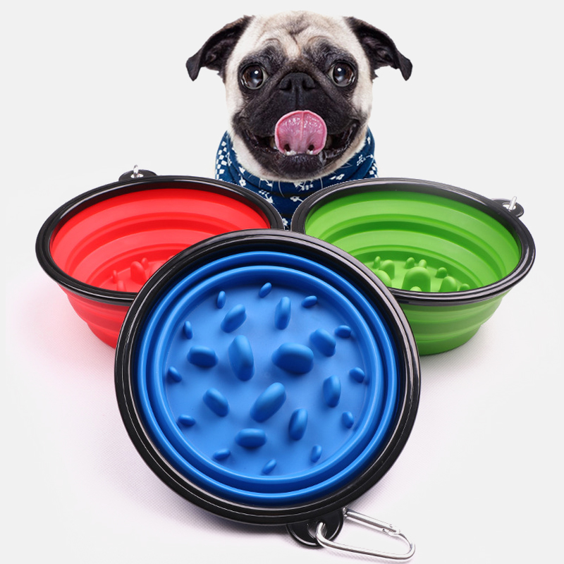 Portable Dog Slow Eating Bowl Foldable Pet Dog Cat Feeder Durable Non-Toxic Preventing Choking Healthy Dish Pet Cat Dog Supplies