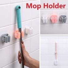 1 soporte para mopa montado en la Pared Soporte organizador de fregona hogar cocina baño adhesivo almacenamiento gancho para escoba de pinza para fregona ganchos