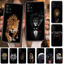 Luxury Black Shell Cover Wolf Lion tiger Animal Phone Case Hull For Samsung Galaxy A  50 51 20 71 70 40 30 10 80 E 5G S Black Sh
