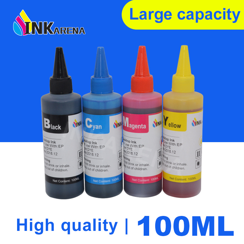 INKARENA 100ml Printer Ink <font><b>Refill</b></font> <font><b>Kit</b></font> for <font><b>HP</b></font> 122 123 121 302 304 301 300 21 22 140 141 650 <font><b>652</b></font> XL Cartridge Ciss Ink Tank System image