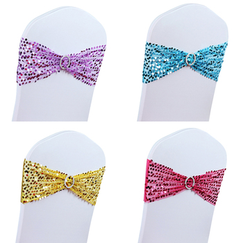 100pcs Sequins Stretch Spandex Chair Sashes Chair Cover Bows Band Sequin Chair Cover Sashes for Party Wedding Decoration