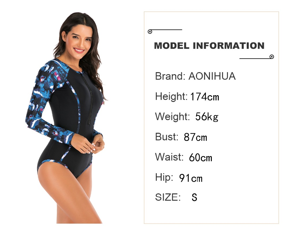 Lady One Piece Swimsuit Print long Sleeve Women zipper Rash Guard Swimwear Bathing Suit female Surfing Swimming Suit