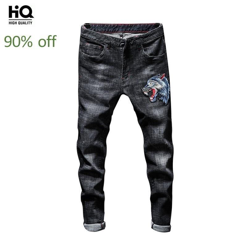 2020 New Mens Straight Strechy Long Jeans Wolf Head Embroidery Denim Motorcycle Biker Pants Plus Size Streetwear Trousers Male