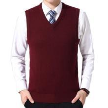 Men Casual Winter Solid Color V Neck Sleeveless Knitted Woolen Plus Size Vest Men Clothing