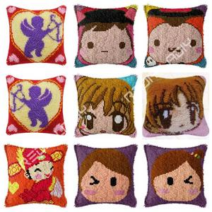Latch Hook Cushion Kit Angel Cupid Pillow Case Crochet Hobby & Crafts DIY Yarn for Embroidery Art Cushion Cover Sofa Bed Pillows