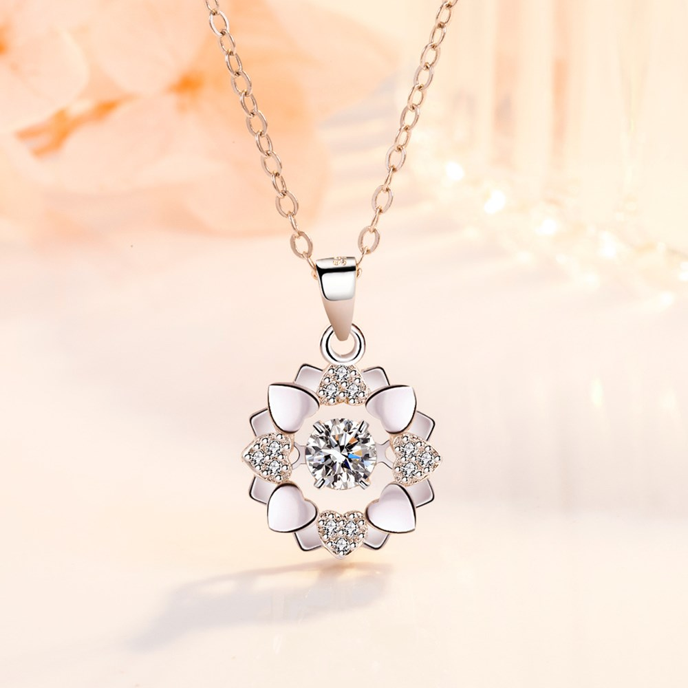NEHZY 925 Sterling Silver New Woman Fashion Jewelry High Quality Retro Simple Crystal Zircon Flower Rotating Necklace Pendant