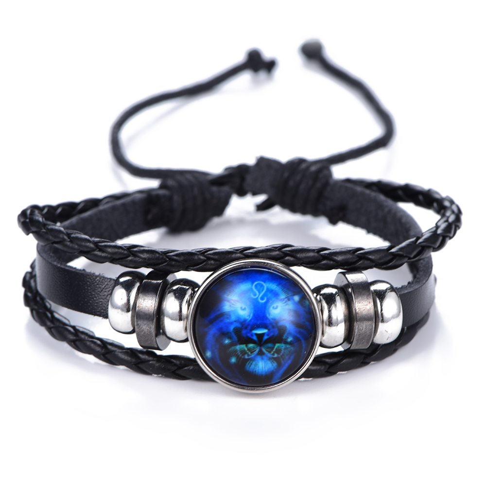 12 Constellation Luminous Bracelet men Leather Bracelet Charms Bracelets Aries Pisces Aquarius Leo Scorpio Libra Gemini jewelry 3