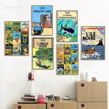 Tintin Adventure Poster Camel Desert Comics Cartoon Retro Vintage Print Classic Canvas Painting Art Wall Picture Home Decor Gift