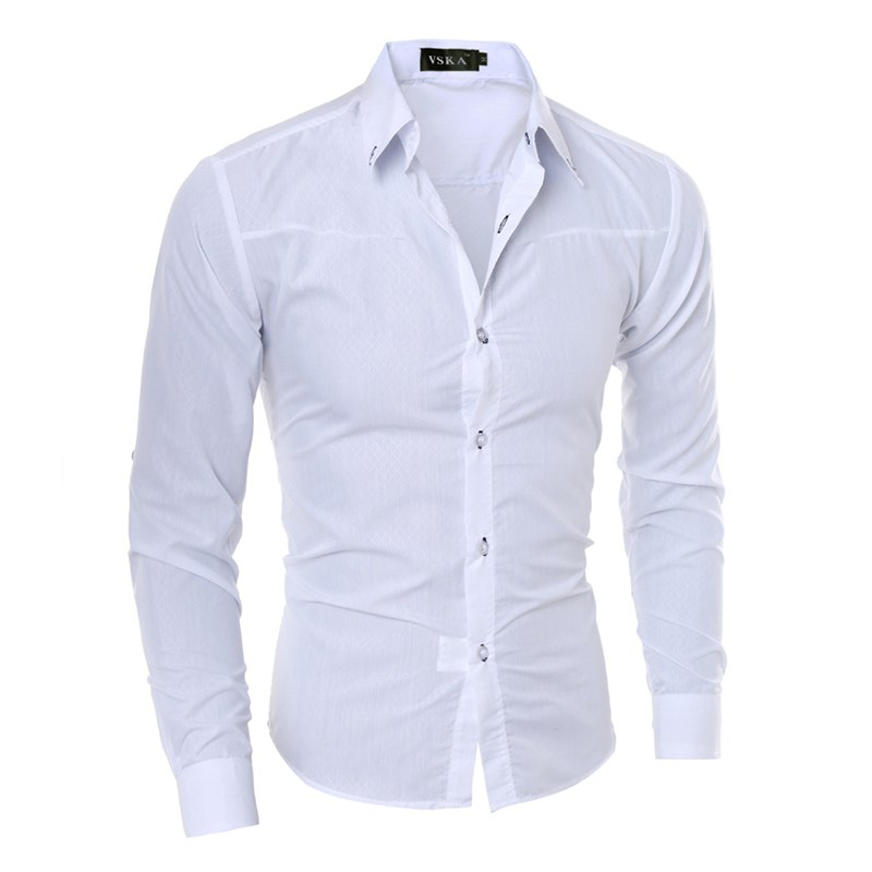 Fall Clothes Men Fashion Business Shirt Long Sleeve Slim Royal Blue White Solid Color Autumn Clothing XXL