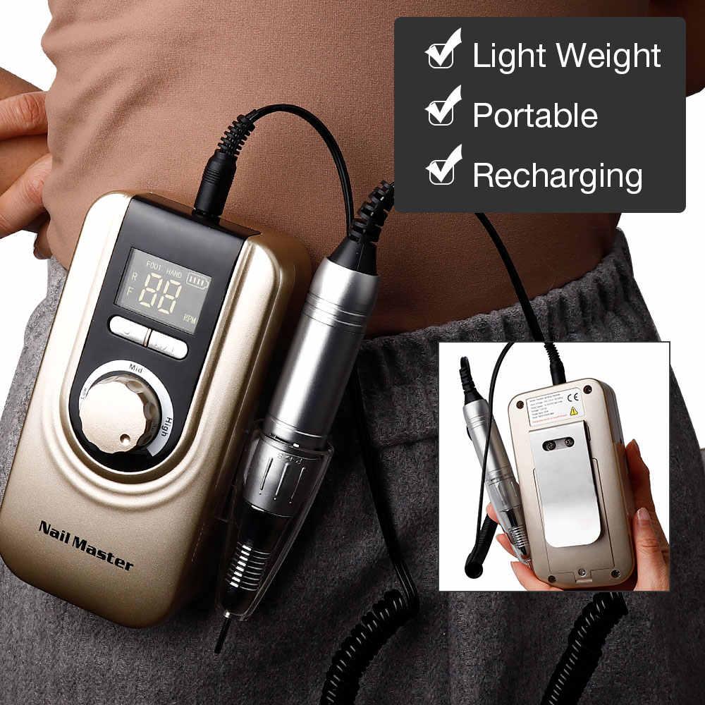 25W Multi-Fungsi 35000RPM Rechargeable Portable Kuat Polishing Electric Kuku Bor Mesin Manikur Pedikur Set Kuku Alat