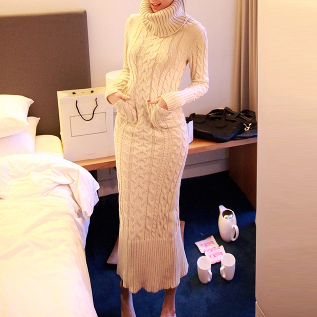 Women Winter Thick Sweater Dress Long Pocket Warm Slim Knitted Dresses Turtleneck Office Elegant Sweater Dresses Korean Style