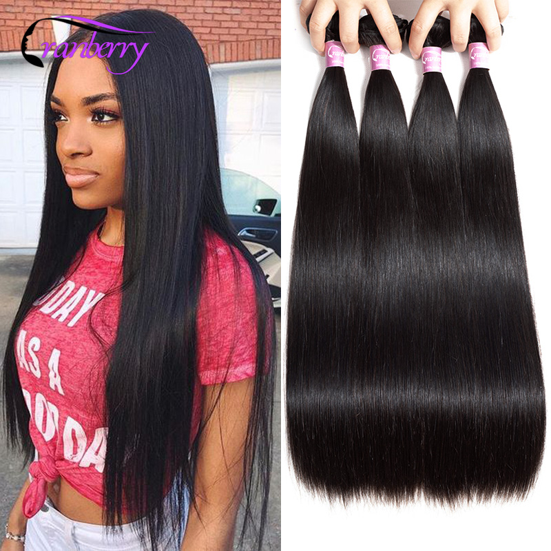 Cranberry Hair 4 Bundles Deal Peruvian Hair Straight Hair Bundles 100% Remy Hair Bundles Human Hair Extension Natural Black