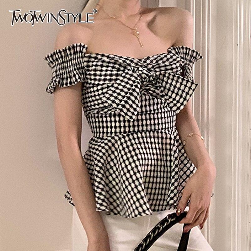 TWOTWINSTYLE Sexy Plaid Women Shirt Slash Neck Short Sleeve High Waist Tunic Patcwhork Bow Hit Color Blouse Female Clothes Tide