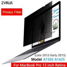 Na koniec 2012-na początku 2015 MacBook Pro 13 3 cal Retina Model A1502 A1425 filtr prywatyzujący ekrany folia ochronna (307mm * 201mm) tanie tanio ZVRUA 16 10 For Late 2012-Early 2015 MacBook Pro 13 3 inch Retina ModelA1502 A1425 PC Notebook PET material About 30-45 degree
