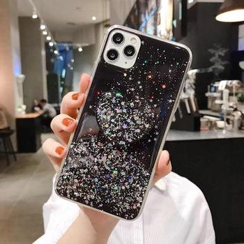 DIY Bling Glitter Love Heart Stand Holder Phone Case For Samsung S20 Plus A50 A70 A80 S8 S9 S10 Plus Note10Plus TPU Cover Coque image