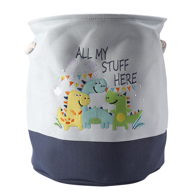 Foldable Storage Basket Cartoon Dinosaur Kids Toys Canvas Storage Basket Dirty Clothes Laundry Container Barrel Home Organizer