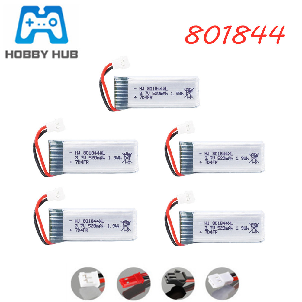 801844 <font><b>3.7V</b></font> <font><b>520mAh</b></font> 25c <font><b>Lipo</b></font> <font><b>Battery</b></font> for H107P RC Camera Drone Spare Parts <font><b>3.7v</b></font> Lithium <font><b>Battery</b></font> xh2.54 plug 1-10pcs image