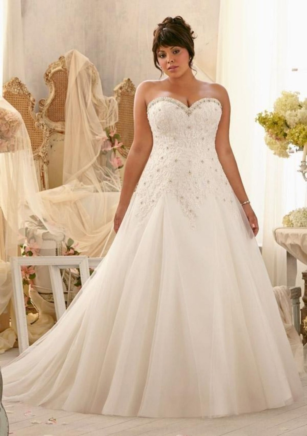 In Stock Applique Lace And Tulle Bandage Plus Beading Bridal Gown Vestido De Noiva Ready To Ship Mother Of The Bride Dresses