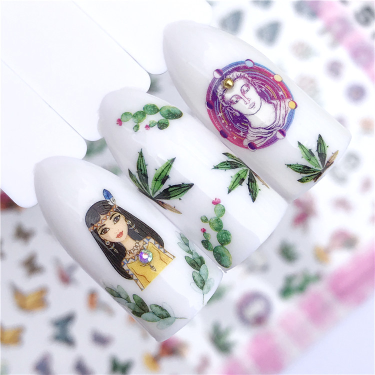 Cartoon Animal Sketch Flower Feather Necklace Ultra-Thin Photo Nail Sticker Paper Supplies Accessories