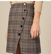 Faldas a cuadros estilo inglés para mujer Otoño Invierno 2019 elegante falda Irregular B007